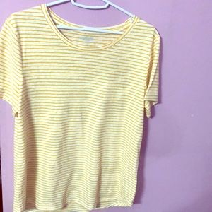 Yellow white striped tee